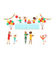 kids celebrating birthday set children having fun vector image