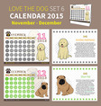LOVE THE DOG CALENDAR 2015 SET 6 vector image vector image