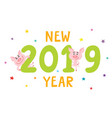new year card with cartoon pig and 2019 isolated vector image vector image