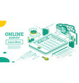 online survey outline isometric concept marks vector image