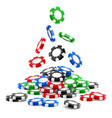 pile of 3d gambling tokens or heap of casino chips vector image