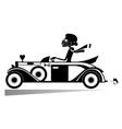 pretty woman drives car vector image vector image