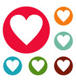 red heart icons circle set vector image