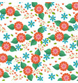 seamless pattern blue and orange flowers leaves vector image