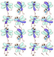 seamless pattern tile cartoon with dragonfly vector image