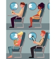 Set of airplane passengers seating in economy vector image vector image