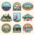 set of rock climbing club and summer camp badges vector image vector image