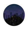 silhouette city night with stars at sky vector image vector image