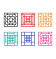 square chinese window with pattern vector image vector image