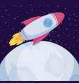 startup rocket with moons icon vector image