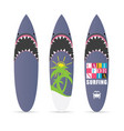 surfboard set with shark design color vector image vector image