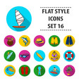 surfing set icons in flat style big collection of vector image vector image