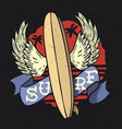 surfing surf themed longboard wings ribbon fo vector image vector image