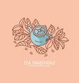 Tea traditions Teapot and Tea grenn or black leav vector image