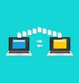 transfer file data between laptop transmission vector image