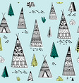 tribal indian wigwam pattern doodle childish vector image
