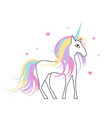 white unicorn with rainbow hair for baby girl vector image