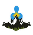 with man silhouette meditates in lotus pose pine vector image