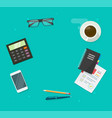 workplace desk table top view for copy space with vector image vector image