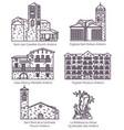 andorra castle landscape and church landmark set vector image vector image