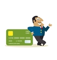 Business man with credit card vector image vector image
