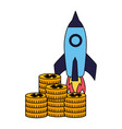 business rocket stack coins money vector image vector image