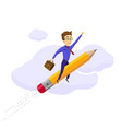 businessman flying on a rocket up in clouds vector image