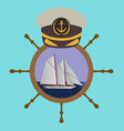 captain hat on the wheel with boat and sea vector image vector image