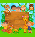 cartoon happy kids with animal wooden banner vector image