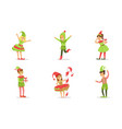 children dressed as christmas elves set boys and vector image vector image
