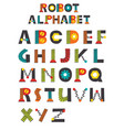 colorful robot alphabet vector image vector image
