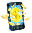 dollar money phone concept vector image vector image