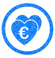 euro favorite hearts rounded icon rubber stamp vector image vector image