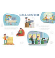 flat call center colorful composition vector image vector image
