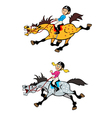 girl and boy riders vector image vector image