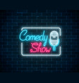 glowing neon comedy show sign with retro vector image