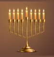 hanukkah jewish holiday menorah vector image