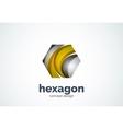 Hexagon logo template cell concept vector image