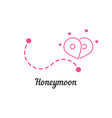 honeymoon with route and map pin vector image