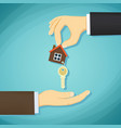 man holds in his hand the keys to the house deal vector image vector image