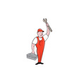 Mechanic Raising Wrench Holding Toolbox Cartoon vector image vector image
