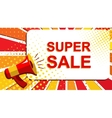 Megaphone with SUPER SALE announcement Flat style vector image vector image