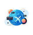 modern technology plane flies around planet using vector image vector image