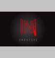 n monogram letter logo design brush paint stroke vector image vector image