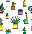 pattern with flowers in pots vector image vector image