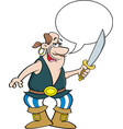 pirate holding a cutlass with a caption balloon vector image vector image