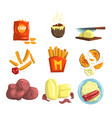 potato food dishes set snacks and cooked potato vector image vector image