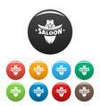 saloon texas hat icons set color vector image
