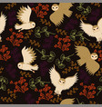 seamless pattern with barn owls and twigs vector image