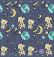 seamless pattern with cosmos doodle vector image vector image